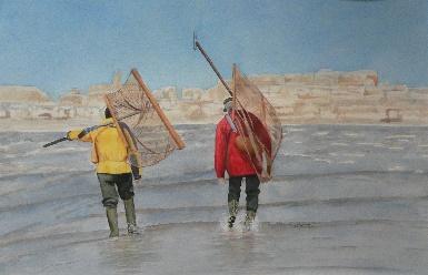 Aquarelle «les pêcheurs»