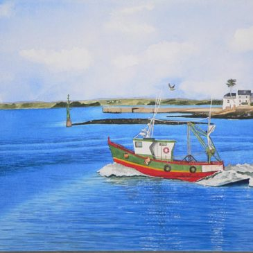 Aquarelle départ pour la pêche