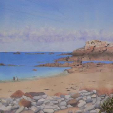 "Aquarelle ""plage bretonne"""