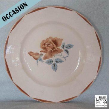 Assiette décorative DIGOIN Sarreguemine, motif rose
